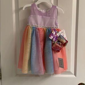 NWT-Infant Girls Blueberi Rainbow Tulle Dress